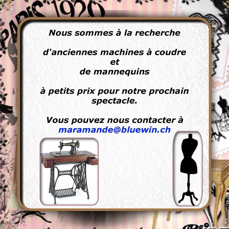 Recherche mannequins et machines à coudres