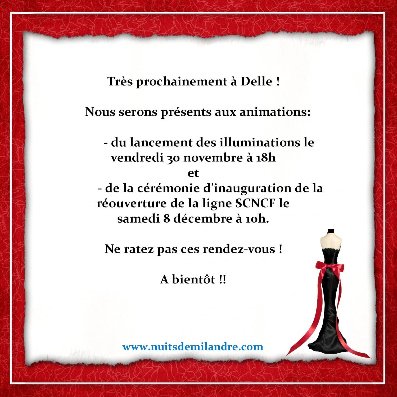 Nuits de Milandre sera présent à l'inauguration des Illuminations de Noël et réouverture de la ligne Belfort-Delle